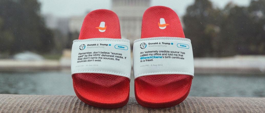Trump's Flip-flopity Tweets Inspire Actual Flip Flops. Hilarity Ensues.
