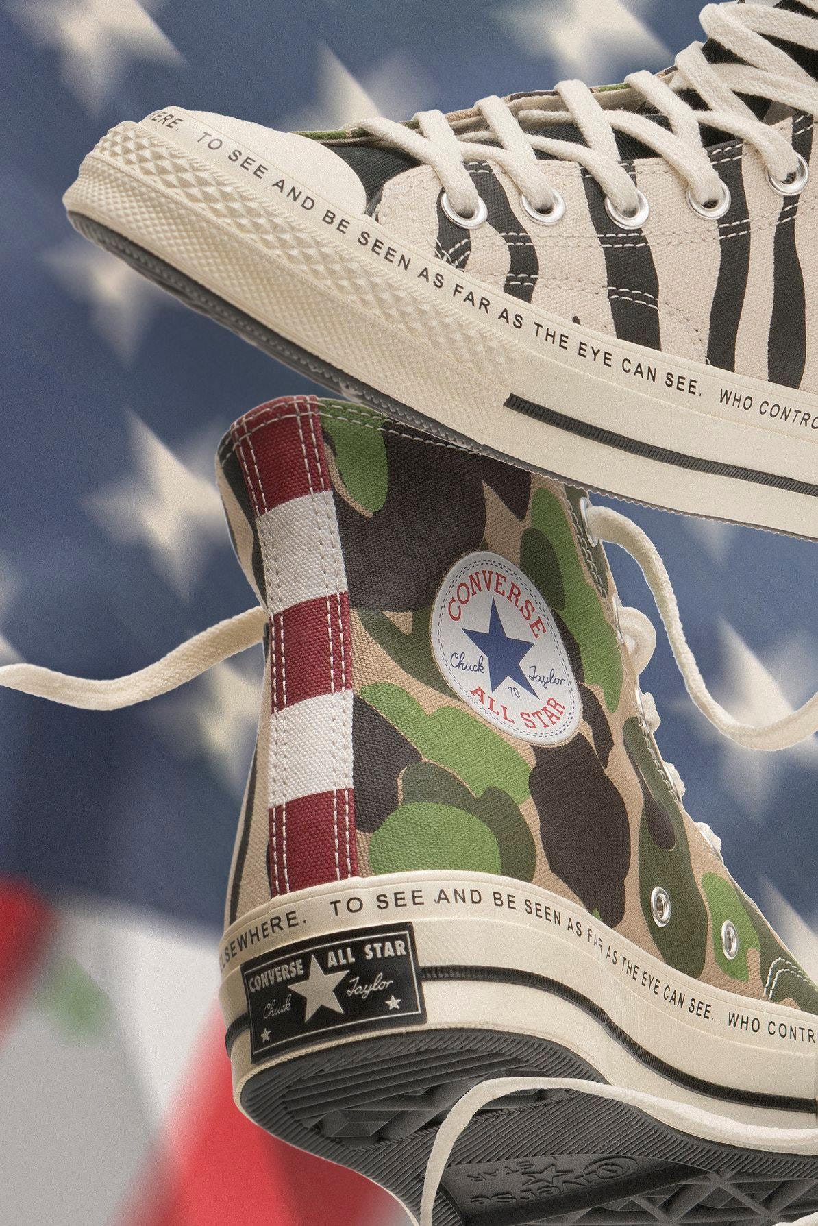 e4f1caf03bb The Brain Dead x Converse collection reimagines the classic Chuck Taylor  All Star '70 silhouette with a mixture of prints, punchy graphics, and wild  colors.